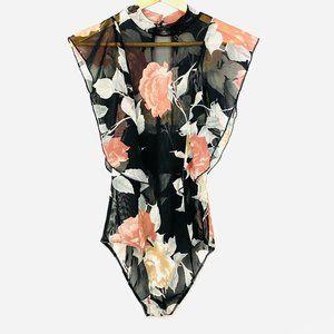 LAVENDER FIELD Black Floral Sheer Bodysuit NWT